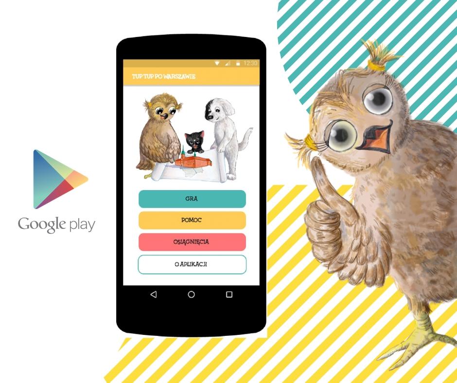 sowa pokazuje aplikację Tup Tup po Warszawie