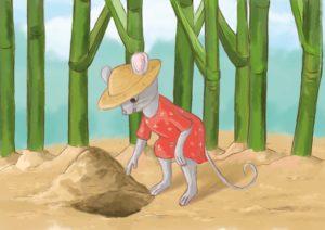 Myszka zdziwionym wzrokiem patrzy na dołek w ziemi