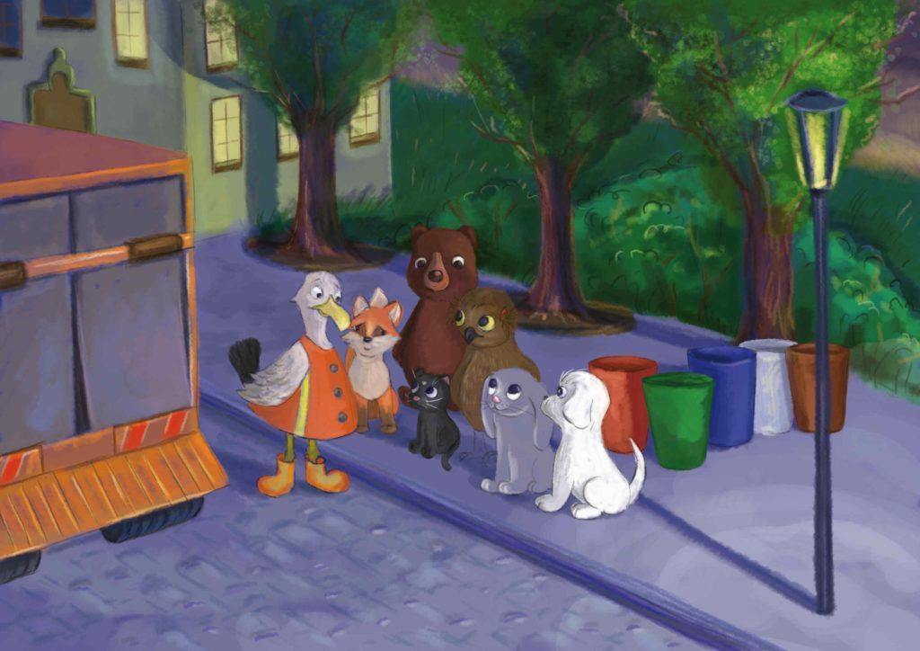 zwierzaki uważnie słuchają porad Gerwazego