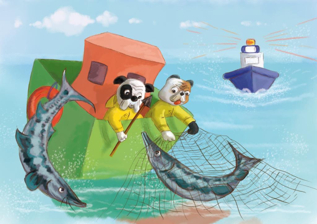 Dwóch buldogów próbuje wyciągnąć bieługę z rzeki