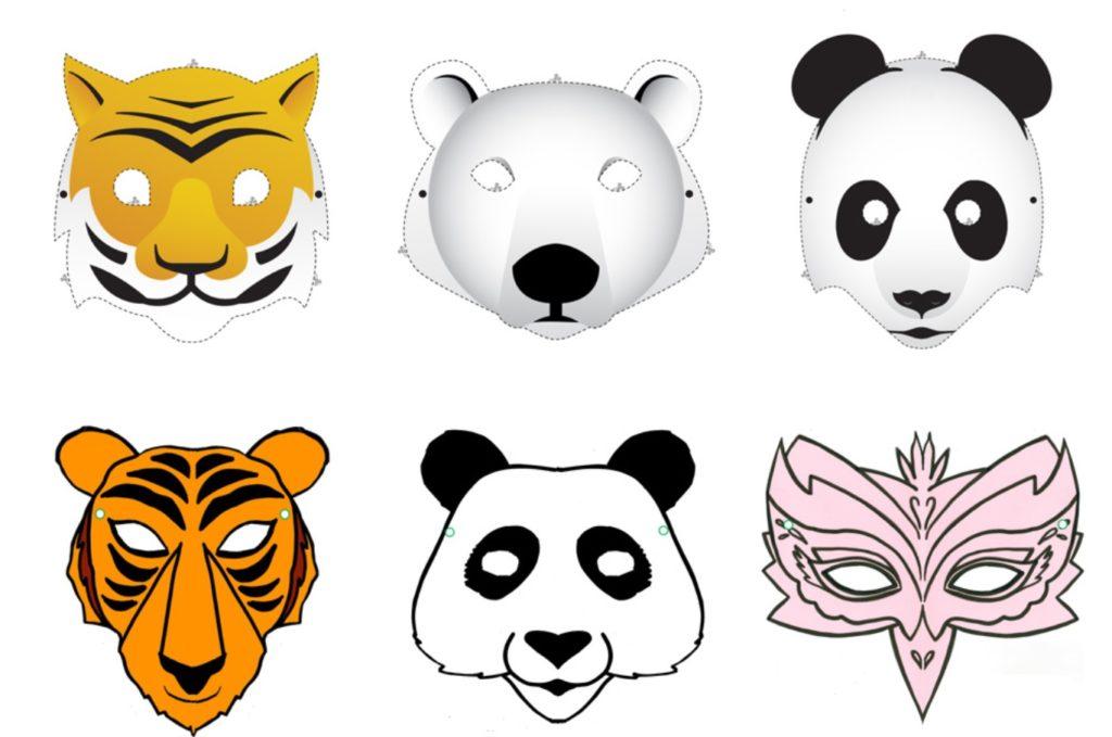 maski zwierząt: tygrysa, pandy, niedźwiedzia polarnego