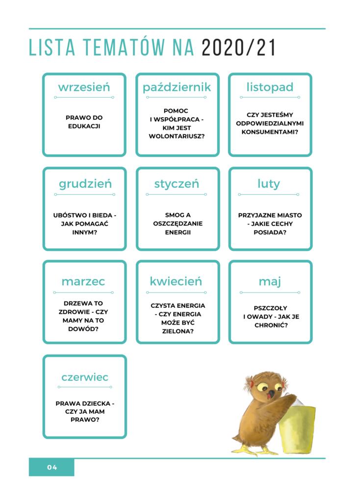 Kalendarz warsztatów na rok 2020/21
